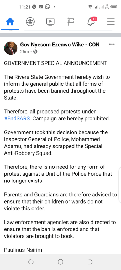 Governor-Wike-Ban-All-Forms-Of-ENDSARs-Protest-In-Rivers-State-Afri-Notes