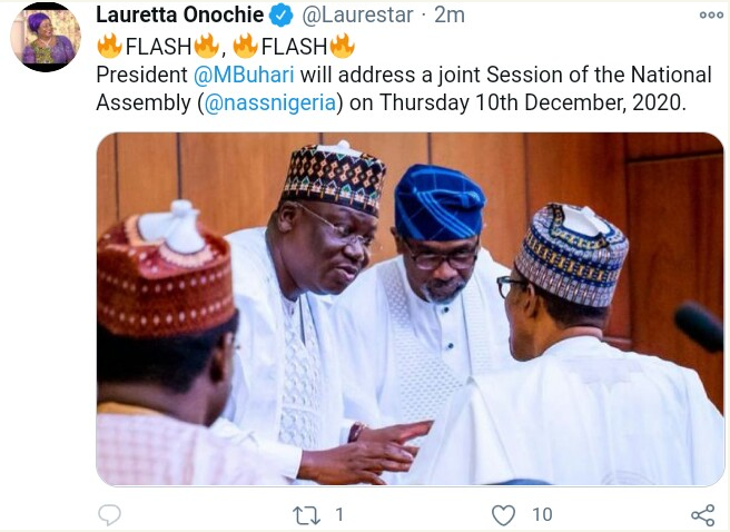 President Buhari Will Address A Joint Session Of National Assembly On Thursday 10th December 2020