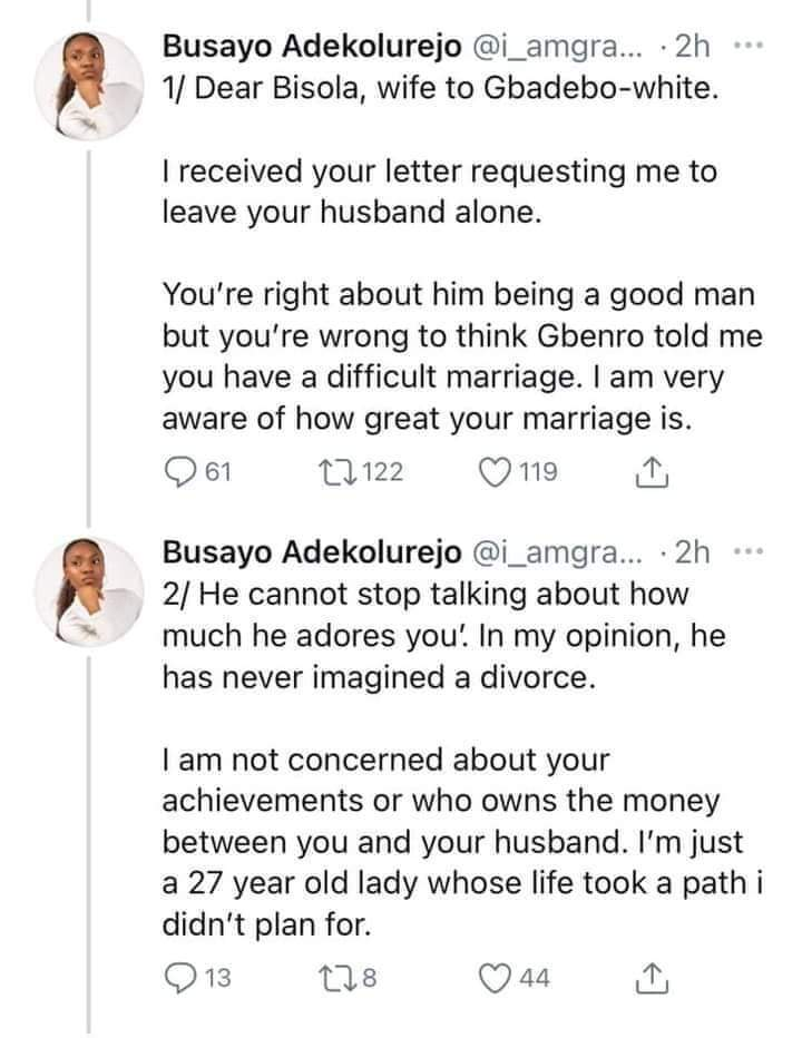 Wife Begs Side Chick To Leave Her Husband Alone. Side Chick Replies 1