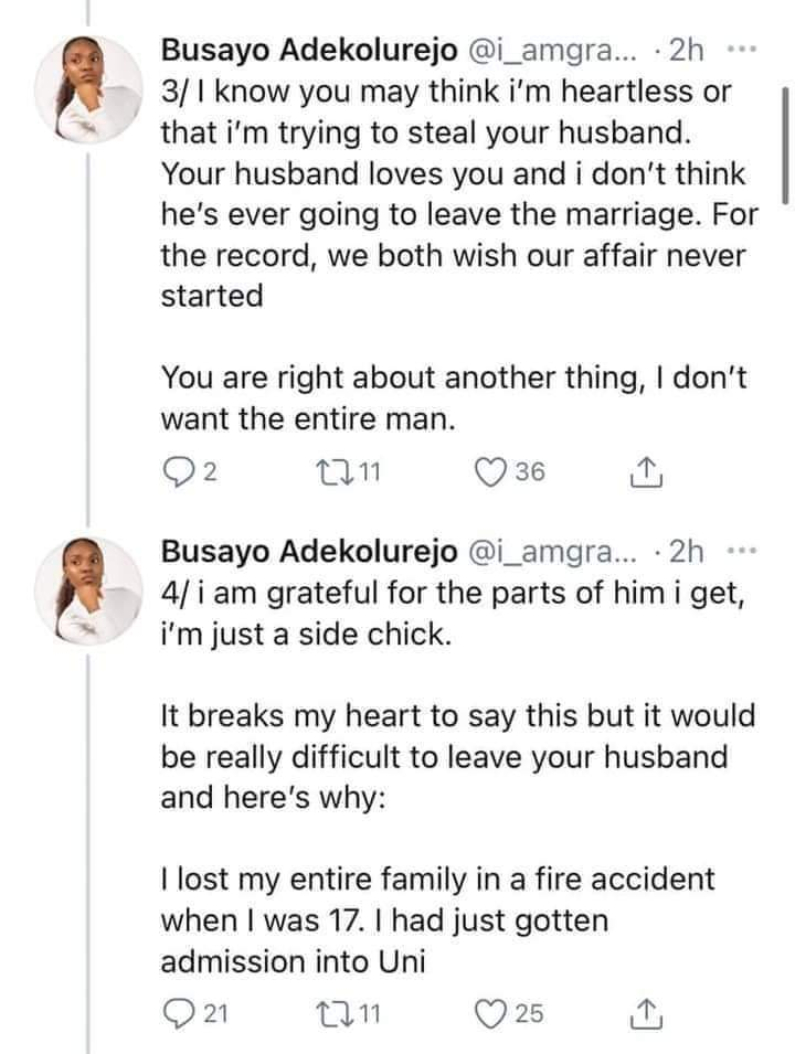 Wife Begs Side Chick To Leave Her Husband Alone. Side Chick Replies 2