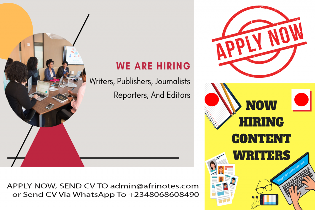 We Are Hiring, Writers, Publishers, Journalists Reporters, And Editors