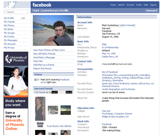 Facebook old interface