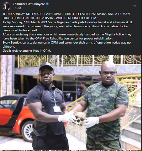 OPM Church Recovered Human Skull From Denounced Cultist and Native Doctor