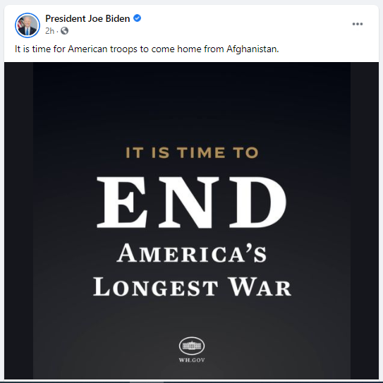 It is time for American Troops to come home from Afghanistan, President Joe Biden
