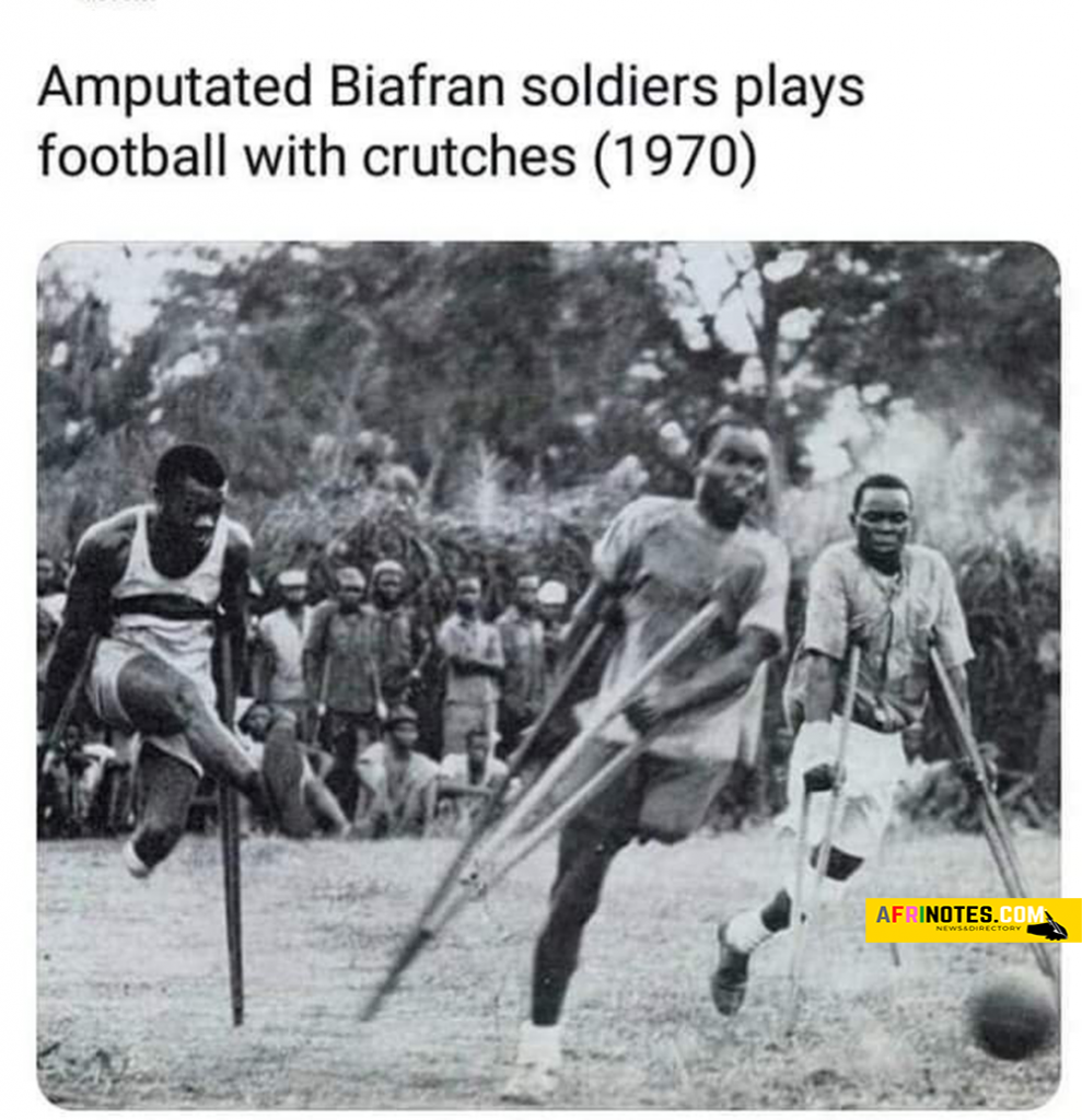 Amputated Biafran soldiers play football with crutches in the year 1970