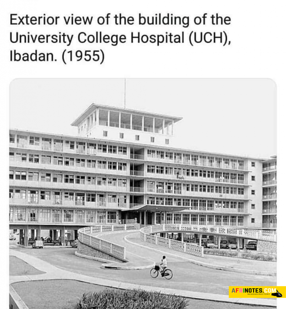 Exterior view of the building of the University College Hospital (UCH) Ibadan. in the year 1955