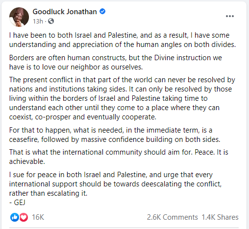 Goodluck Jonathan on Israel And Palestine ceasefire