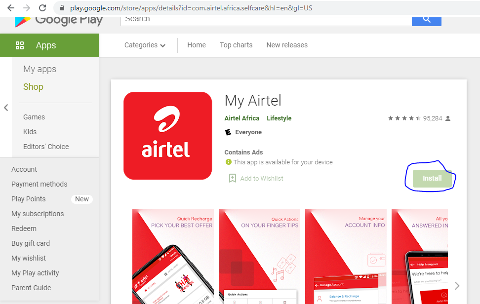 My Airtel App, download and install