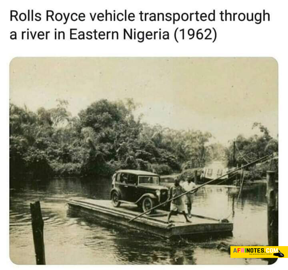 Rolls Royce vehicle transported through a river in Eastern Nigeria in the Year 1962