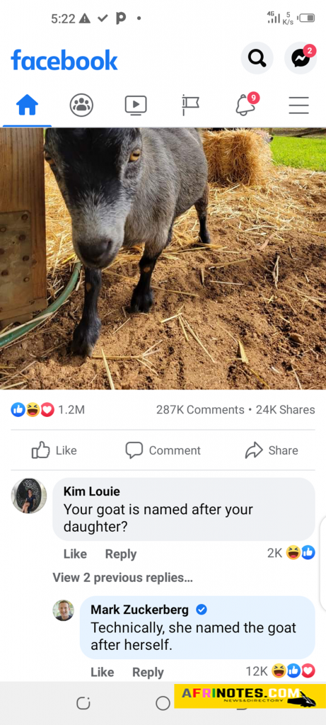 Technically, she named the goat after herself, Mark Zuckerberg