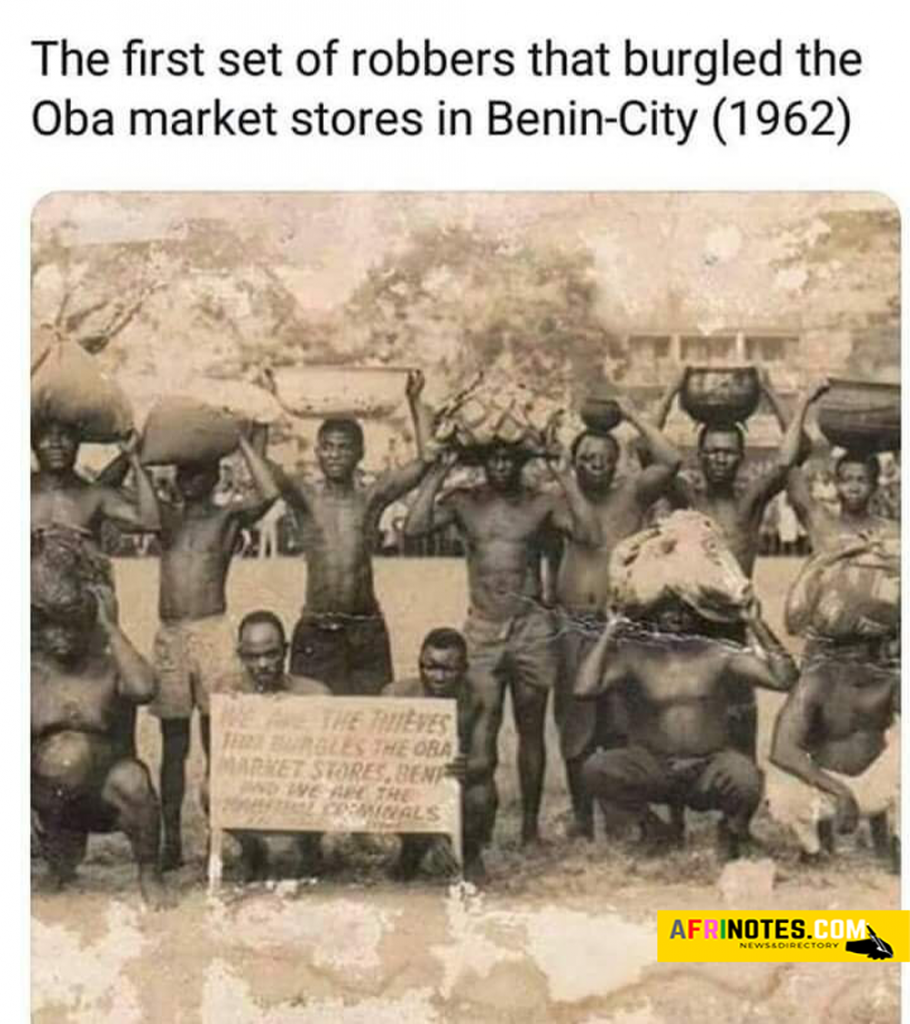 The first set of robbers that burgled the Oba market stores in Benin City, Nigeria in the year 1962
