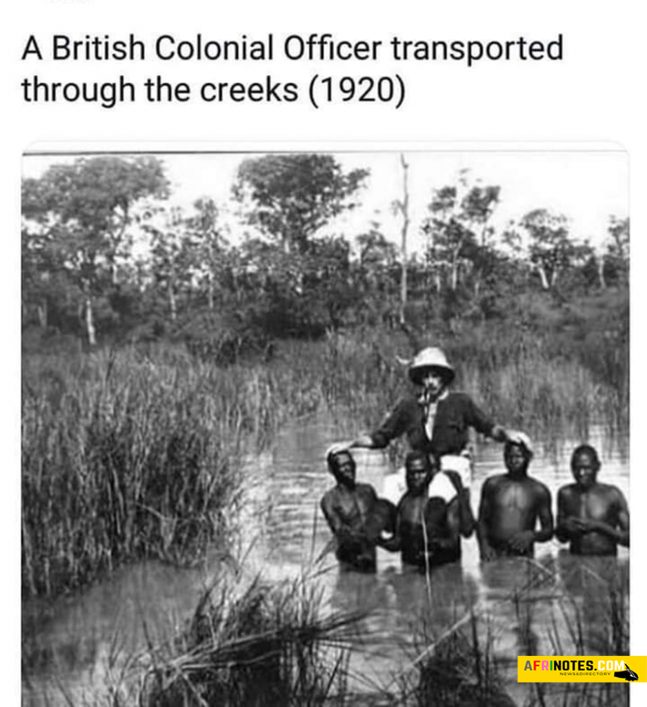 A British Colonial Officer transported through the creeks in the year 1920