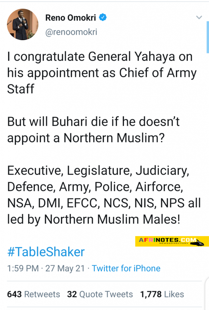 will Buhari die if he doesn't appoint a Northern Muslim Reno Omokri