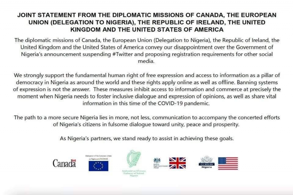 USA, Canada, Ireland, And UK condemns President Buhari Twitter Ban in a joint statement