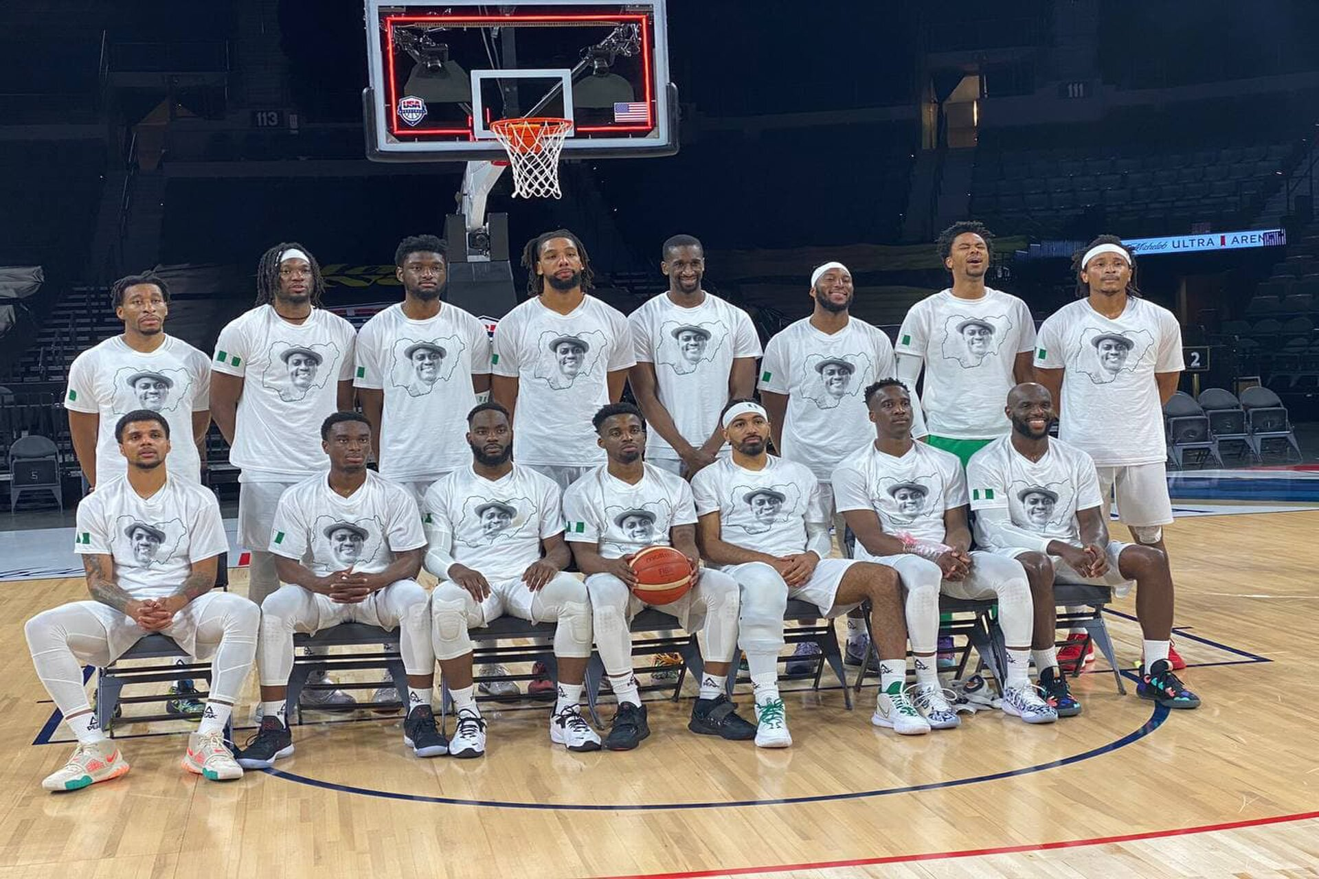 Basketball Nigeria team D'Tigers observes a minute silence for Sound Sultan Before Their game against Australia